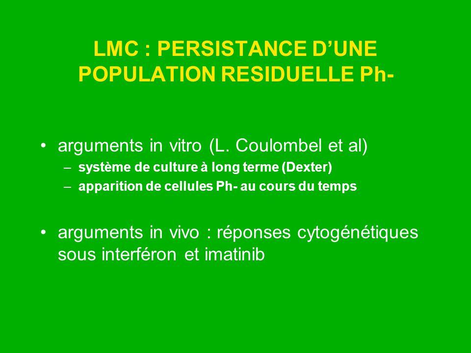 LMC : PERSISTANCE DUNE POPULATION RESIDUELLE Ph- arguments in vitro (L. Coulombel et al) –système de culture à long terme (Dexter) –apparition de cell