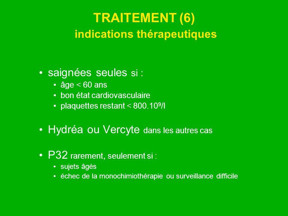 TRAITEMENT (6) indications thérapeutiques saignées seules si : âge < 60 ans bon état cardiovasculaire plaquettes restant < 800.10 9 /l Hydréa ou Vercy