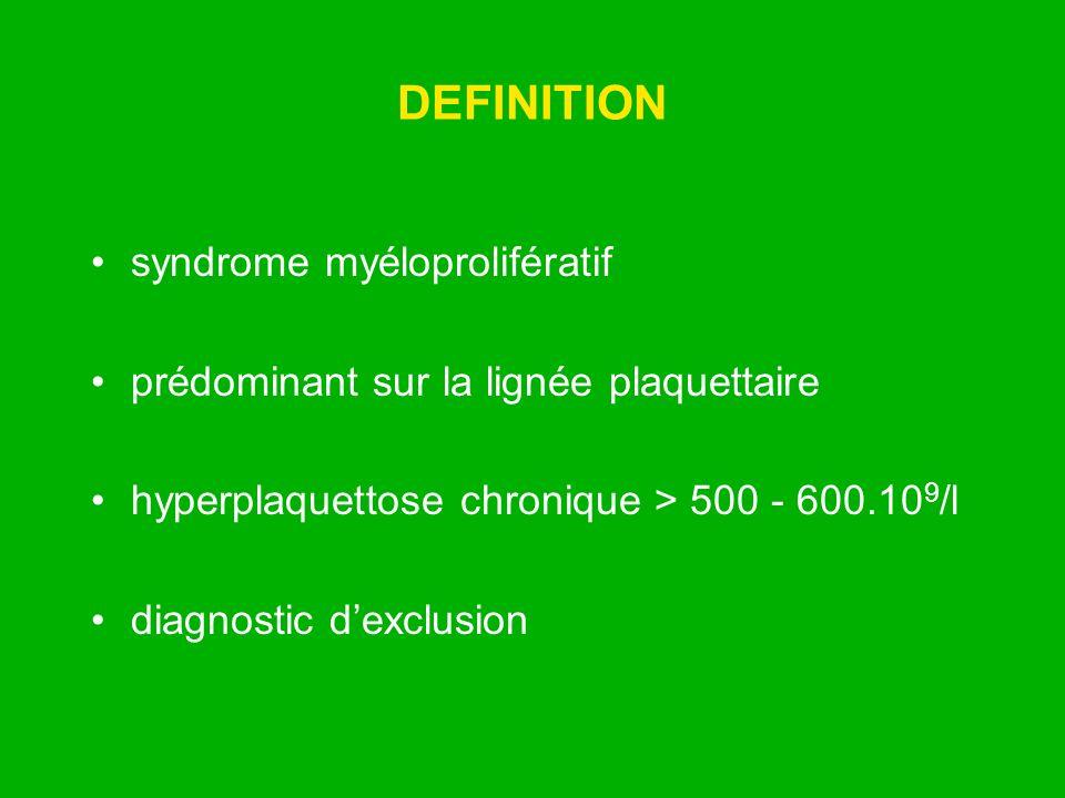 DEFINITION syndrome myéloprolifératif prédominant sur la lignée plaquettaire hyperplaquettose chronique > 500 - 600.10 9 /l diagnostic dexclusion