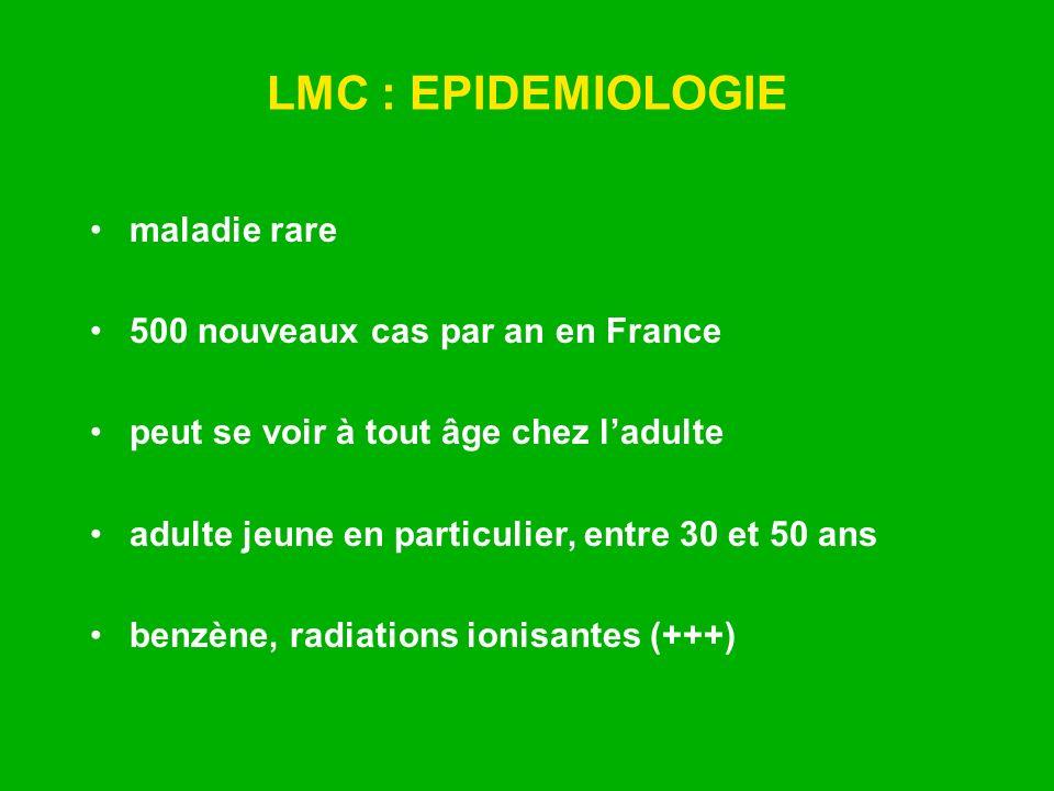 LMC : EPIDEMIOLOGIE maladie rare 500 nouveaux cas par an en France peut se voir à tout âge chez ladulte adulte jeune en particulier, entre 30 et 50 an