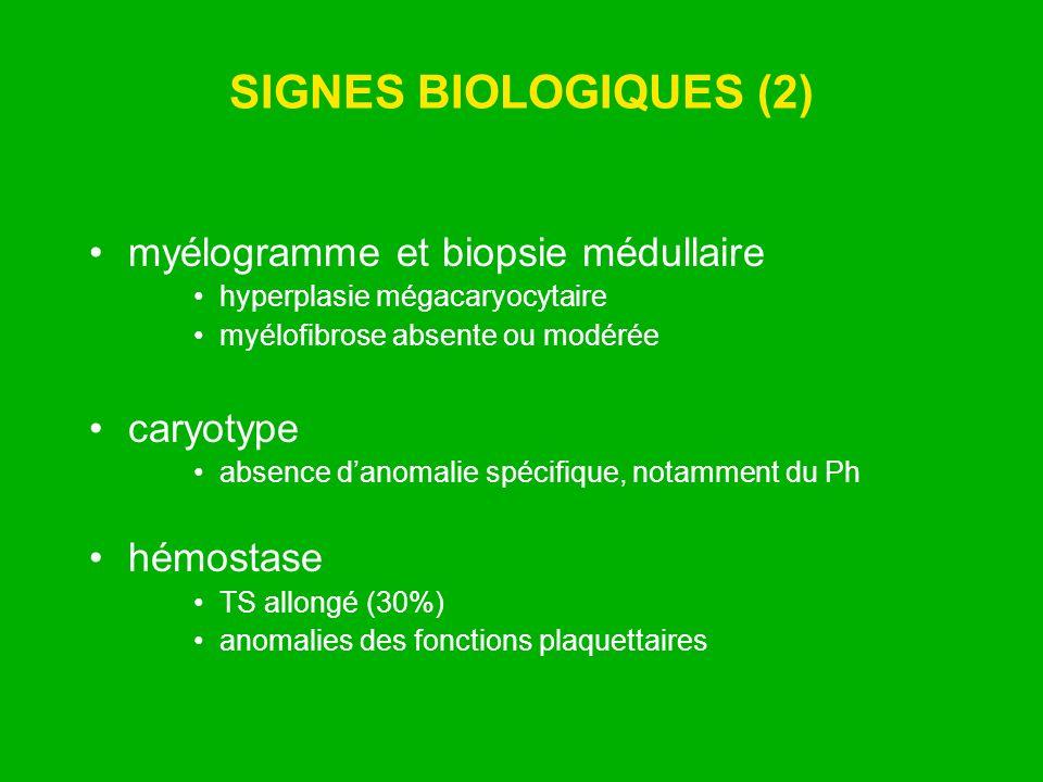 SIGNES BIOLOGIQUES (2) myélogramme et biopsie médullaire hyperplasie mégacaryocytaire myélofibrose absente ou modérée caryotype absence danomalie spéc