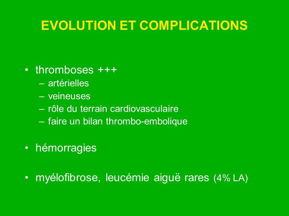 EVOLUTION ET COMPLICATIONS thromboses +++ –artérielles –veineuses –rôle du terrain cardiovasculaire –faire un bilan thrombo-embolique hémorragies myél