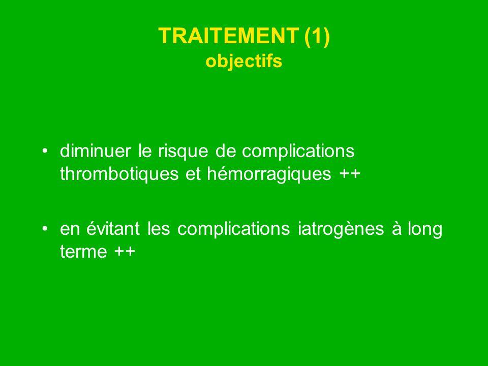 TRAITEMENT (1) objectifs diminuer le risque de complications thrombotiques et hémorragiques ++ en évitant les complications iatrogènes à long terme ++