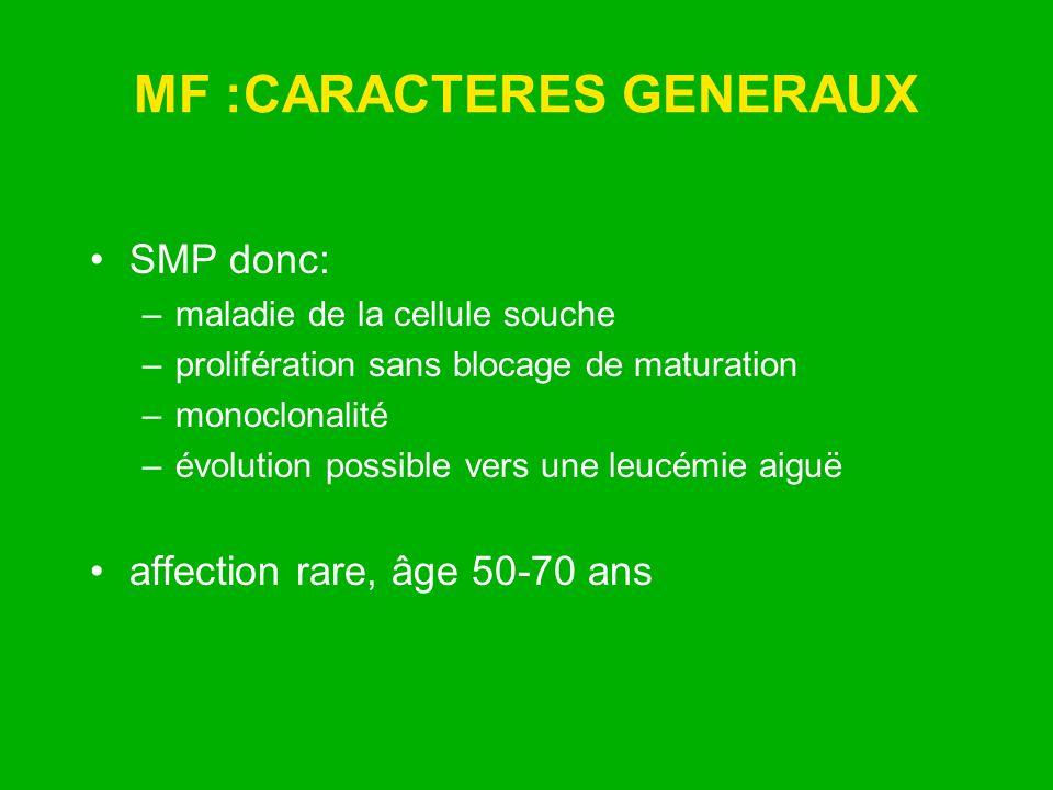 MF :CARACTERES GENERAUX SMP donc: –maladie de la cellule souche –prolifération sans blocage de maturation –monoclonalité –évolution possible vers une