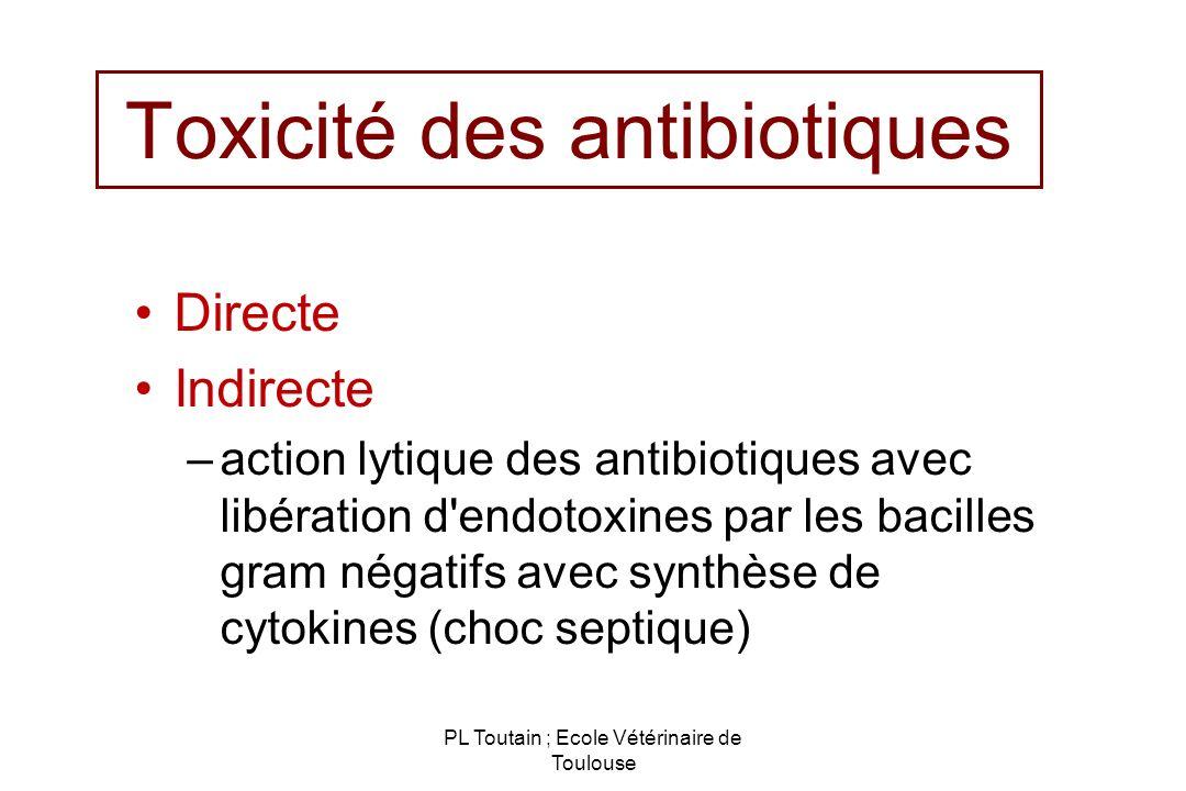 PL Toutain ; Ecole Vétérinaire de Toulouse Toxicité des antibiotiques Directe Indirecte –action lytique des antibiotiques avec libération d'endotoxine