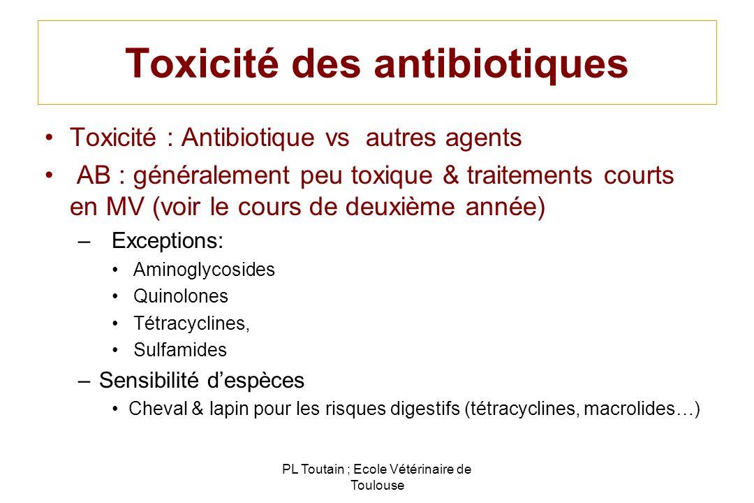 Toxicité des antibiotiques Toxicité : Antibiotique vs autres agents AB : généralement peu toxique & traitements courts en MV (voir le cours de deuxièm
