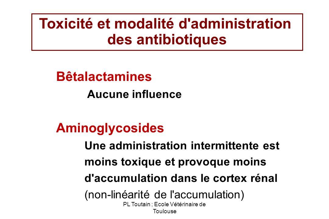 PL Toutain ; Ecole Vétérinaire de Toulouse Toxicité et modalité d'administration des antibiotiques Bêtalactamines Aucune influence Aminoglycosides Une