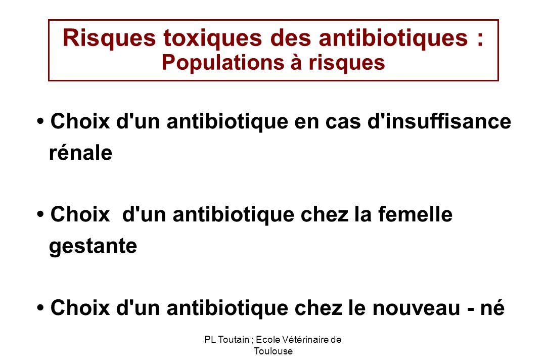 PL Toutain ; Ecole Vétérinaire de Toulouse Risques toxiques des antibiotiques : Populations à risques Choix d'un antibiotique en cas d'insuffisance ré