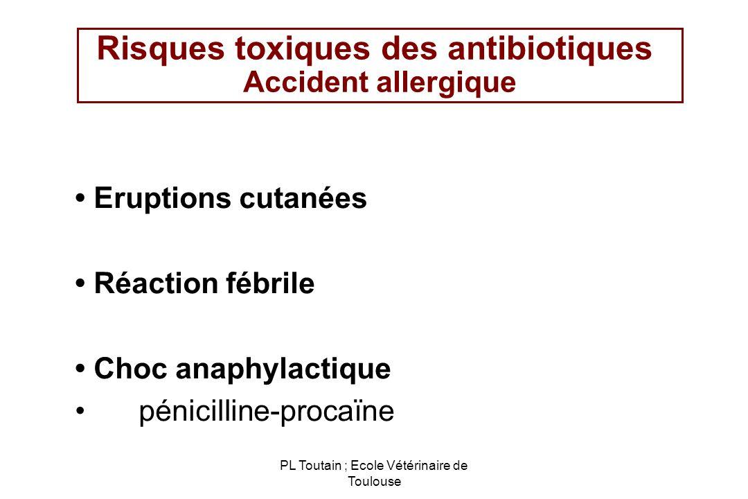 PL Toutain ; Ecole Vétérinaire de Toulouse Risques toxiques des antibiotiques Accident allergique Eruptions cutanées Réaction fébrile Choc anaphylacti