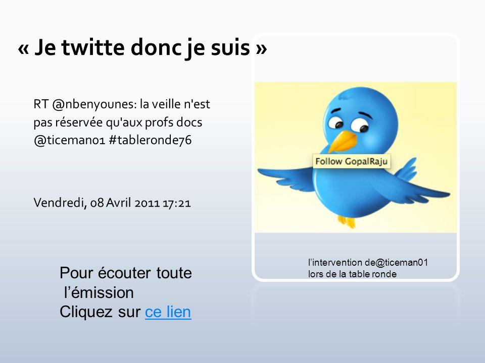 - Liste de diffusion, newsletter - Favoris, bookmarks, marque pages - Podcasts - Flux RSS et agrégateurs - Réseaux sociaux Docvibes Twitter Paper.li