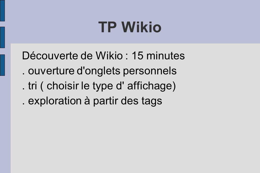 TP Wikio Découverte de Wikio : 15 minutes. ouverture d'onglets personnels. tri ( choisir le type d' affichage). exploration à partir des tags