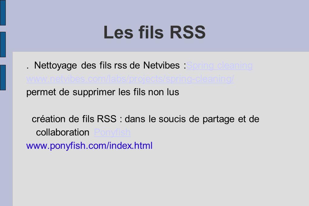 Les fils RSS. Nettoyage des fils rss de Netvibes :Spring cleaningSpring cleaning www.netvibes.com/labs/projects/spring-cleaning/ permet de supprimer l