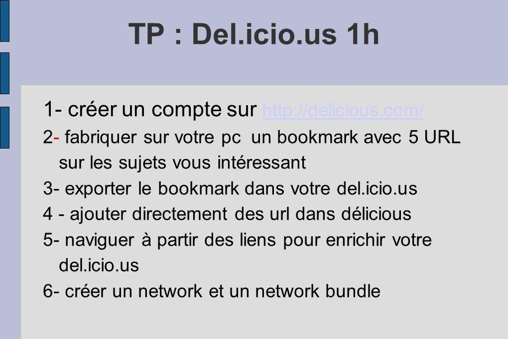 TP : Del.icio.us 1h 1- créer un compte sur http://delicious.com/ http://delicious.com/ 2- fabriquer sur votre pc un bookmark avec 5 URL sur les sujets vous intéressant 3- exporter le bookmark dans votre del.icio.us 4 - ajouter directement des url dans délicious 5- naviguer à partir des liens pour enrichir votre del.icio.us 6- créer un network et un network bundle