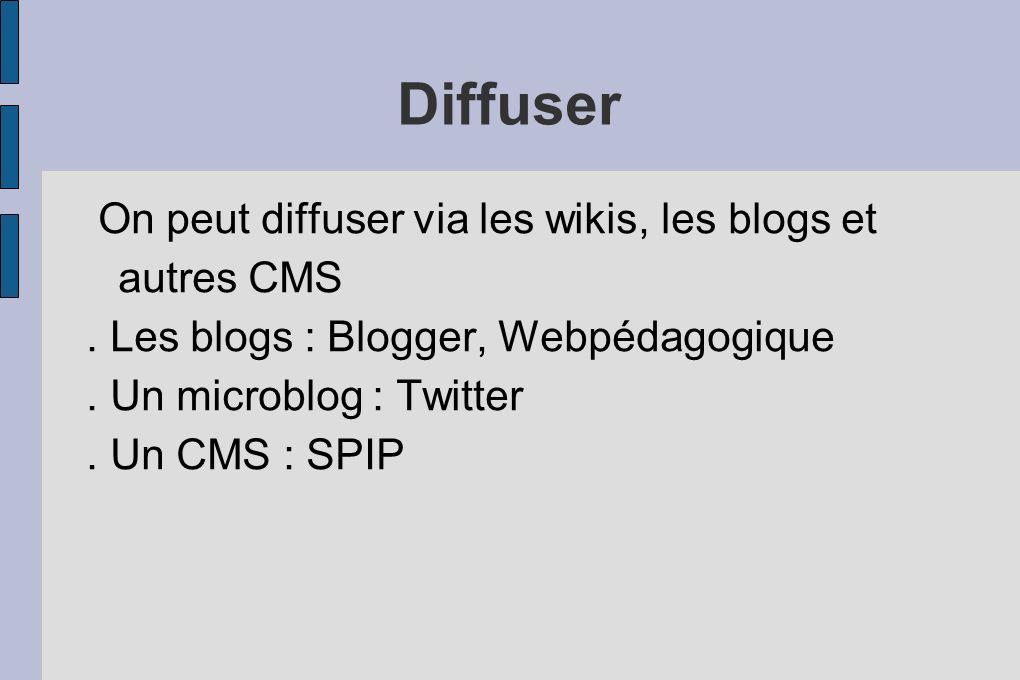 On peut diffuser via les wikis, les blogs et autres CMS. Les blogs : Blogger, Webpédagogique. Un microblog : Twitter. Un CMS : SPIP