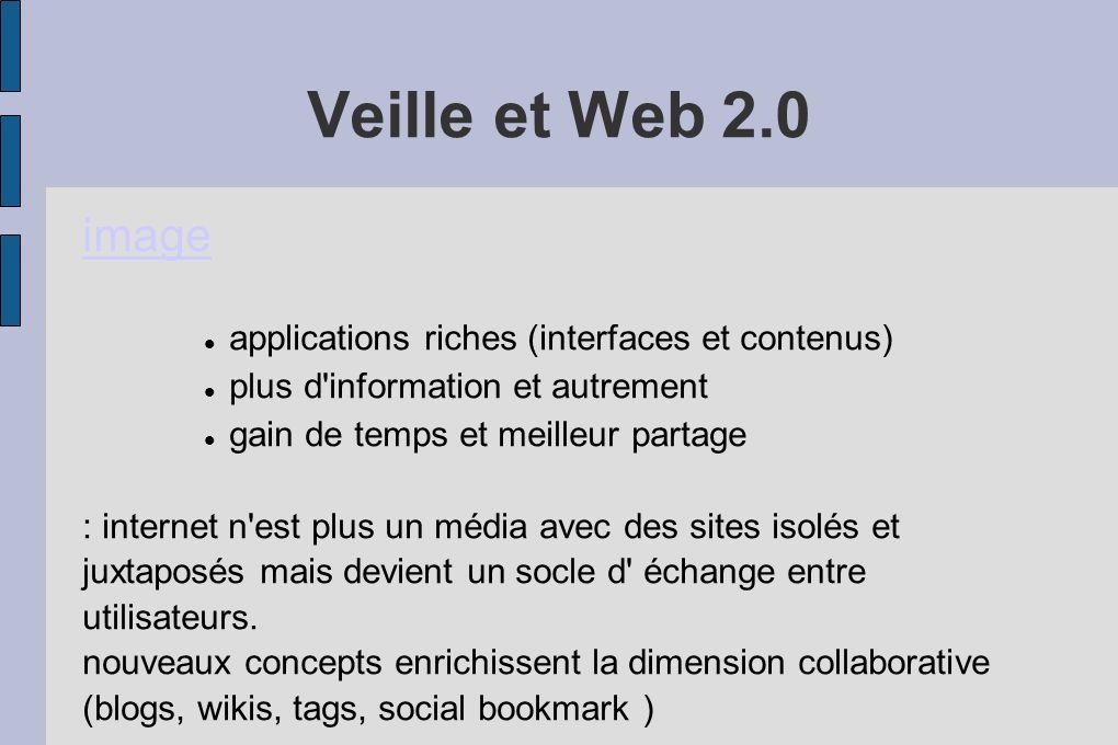 Veille et Web 2.0 image applications riches (interfaces et contenus) plus d'information et autrement gain de temps et meilleur partage : internet n'es