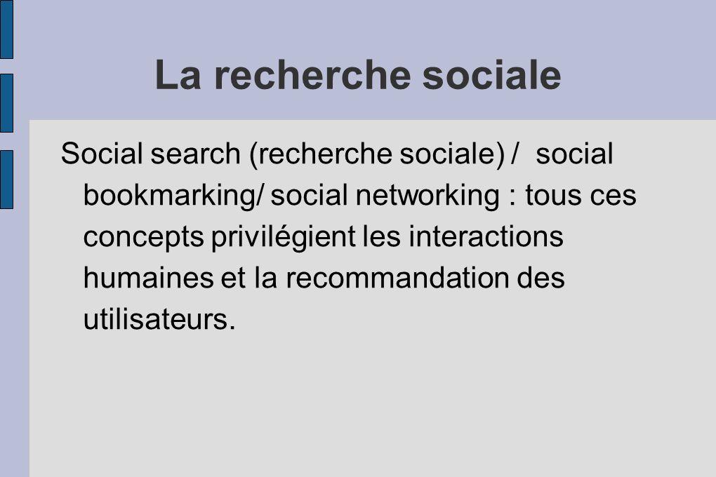 La recherche sociale Social search (recherche sociale) / social bookmarking/ social networking : tous ces concepts privilégient les interactions humaines et la recommandation des utilisateurs.