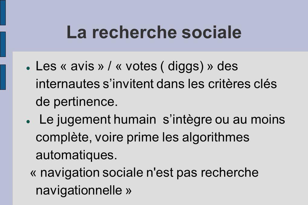La recherche sociale Les « avis » / « votes ( diggs) » des internautes sinvitent dans les critères clés de pertinence. Le jugement humain sintègre ou