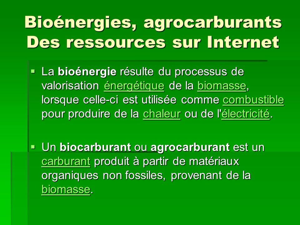 Bioénergies, agrocarburants Des ressources sur Internet La bioénergie résulte du processus de valorisation énergétique de la biomasse, lorsque celle-ci est utilisée comme combustible pour produire de la chaleur ou de l électricité.