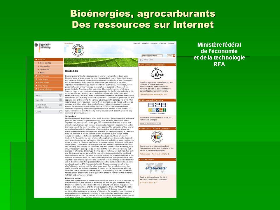 Ministère fédéral de léconomie et de la technologie RFA Bioénergies, agrocarburants Des ressources sur Internet