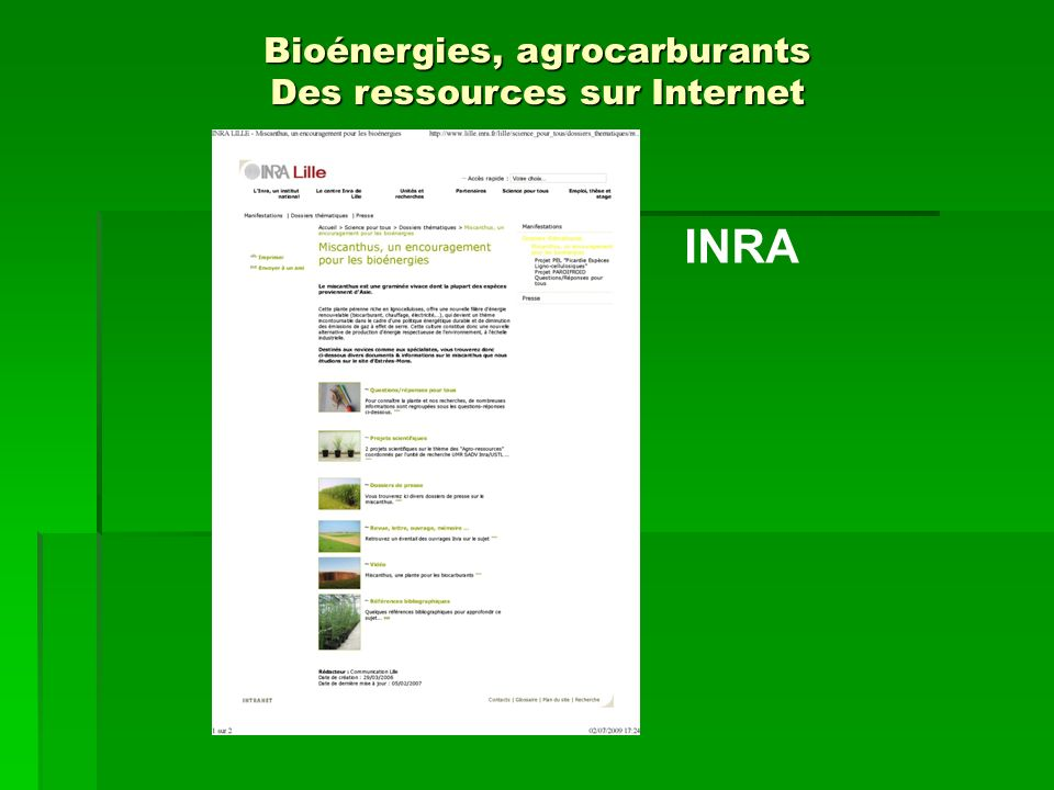 INRA Bioénergies, agrocarburants Des ressources sur Internet