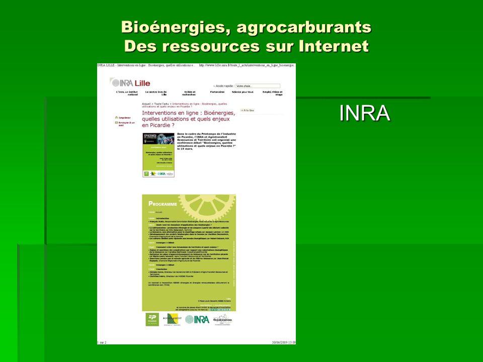 Institutfrançais du pétrole Bioénergies, agrocarburants Des ressources sur Internet