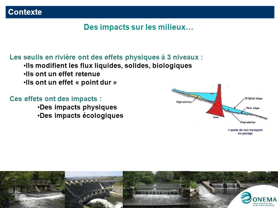 … et de fortes attentes vis-à-vis de la continuité écologique Concilier de multiples objectifs DCE : EDL, programme de surveillance et préservation/restauration des milieux pour latteinte du bon état ou du bon potentiel écologique pour 2/3 des masses deau de surface en 2015 Défi climatique et développement des énergies renouvelables Préserver les espèces en voie dextinction : 1555 ouvrages prioritaires pour languille dici 2015 (Règlement CE2007 et PGA adopté par la CE le 15/02/10) Grenelle et mise en œuvre des trames vertes et bleues Relance du plan hydraulique français : convention pour le développement dune hydroélectricité durable (23 juin 2010) Plan national de restauration de la continuité écologique des cours deau (circulaire du 25/01/2010) : 5axes dont le recensement des ouvrages Contexte