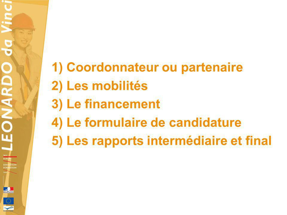 1) Coordonnateur ou partenaire 2) Les mobilités 3) Le financement 4) Le formulaire de candidature 5) Les rapports intermédiaire et final