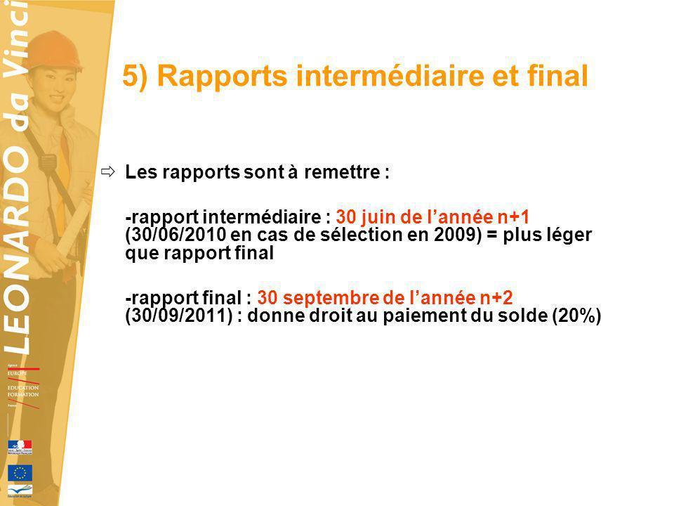5) Rapports intermédiaire et final Les rapports sont à remettre : -rapport intermédiaire : 30 juin de lannée n+1 (30/06/2010 en cas de sélection en 20