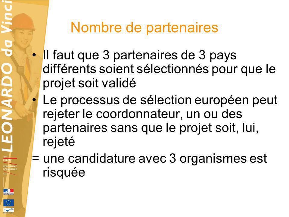 Nombre de partenaires Il faut que 3 partenaires de 3 pays différents soient sélectionnés pour que le projet soit validé Le processus de sélection euro