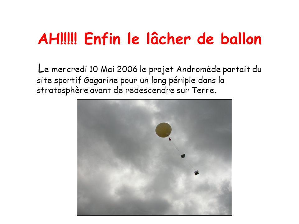 AH!!!!! Enfin le lâcher de ballon L e mercredi 10 Mai 2006 le projet Andromède partait du site sportif Gagarine pour un long périple dans la stratosph