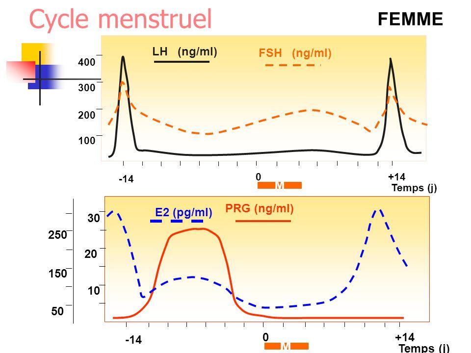 FEMME Temps (j) LH (ng/ml) 100 -14 0+14 M 200 300 400 PRG (ng/ml) Temps (j) 10 -14 0+14 M 20 30 50 150 250 E2 (pg/ml) FSH (ng/ml) Cycle menstruel