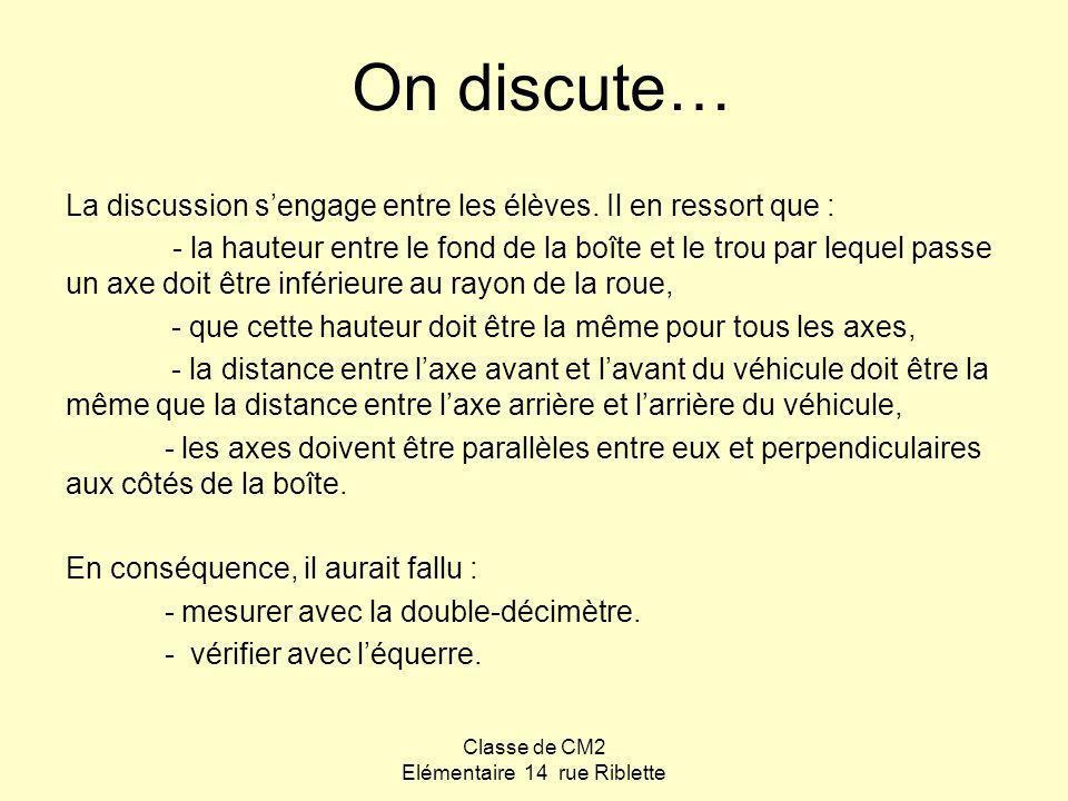 Classe de CM2 Elémentaire 14 rue Riblette On discute… La discussion sengage entre les élèves. Il en ressort que : - la hauteur entre le fond de la boî