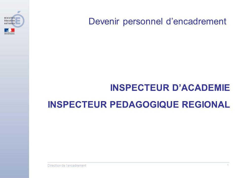 Direction de l encadrement 1 INSPECTEUR DACADEMIE INSPECTEUR PEDAGOGIQUE REGIONAL Devenir personnel dencadrement