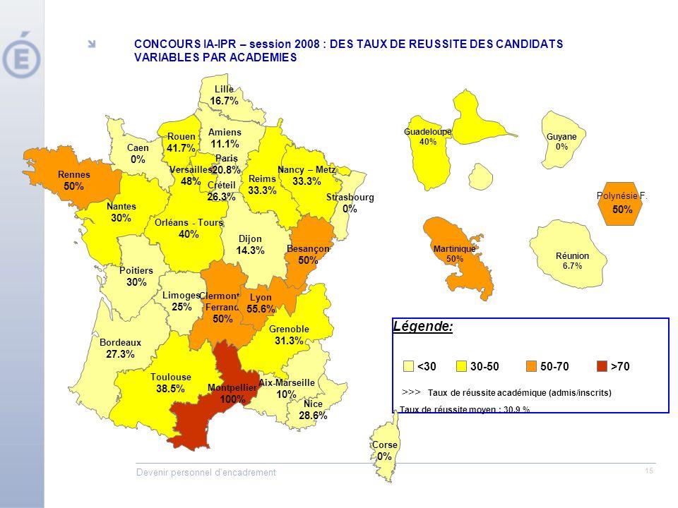 Devenir personnel d encadrement 15 Légende: >>> Taux de réussite académique (admis/inscrits) Taux de réussite moyen : 30.9 % Reims 33.3% Orléans - Tours 40% Caen 0% Dijon 14.3% Nancy – Metz 33.3% Strasbourg 0% Besançon 50% Nantes 30% Rennes 50% Poitiers 30% Bordeaux 27.3% Toulouse 38.5% Limoges 25% Clermont- Ferrand 50% Montpellier 100% Corse 0% Lille 16.7% Amiens 11.1% Rouen 41.7% Rhône Ain Loire Nice 28.6% Aix-Marseille 10% Lyon 55.6% Grenoble 31.3% Versailles 48% Créteil 26.3% Paris 20.8% <3030-5050-70>70 Martinique 50% Réunion 6.7% Guyane 0% Guadeloupe 40% CONCOURS IA-IPR – session 2008 : DES TAUX DE REUSSITE DES CANDIDATS VARIABLES PAR ACADEMIES Polynésie F.