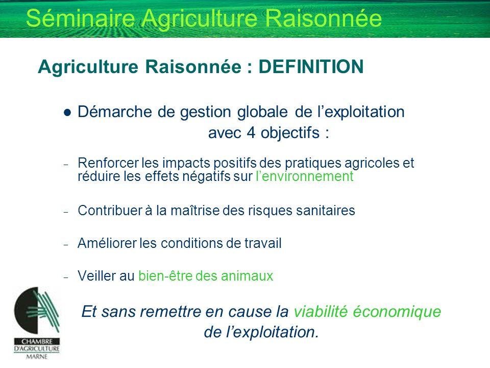 Séminaire Agriculture Raisonnée Agriculture Raisonnée : DEFINITION Démarche de gestion globale de lexploitation avec 4 objectifs : - Renforcer les imp