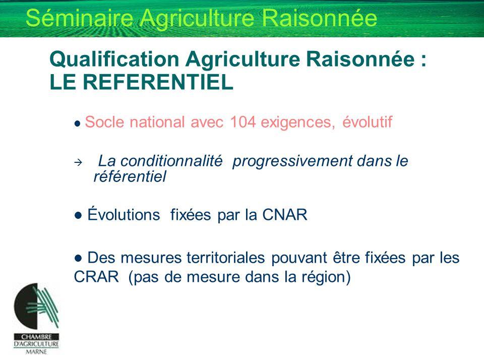 Séminaire Agriculture Raisonnée Qualification Agriculture Raisonnée : LE REFERENTIEL Socle national avec 104 exigences, évolutif La conditionnalité pr