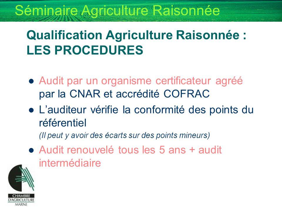 Séminaire Agriculture Raisonnée Audit par un organisme certificateur agréé par la CNAR et accrédité COFRAC Lauditeur vérifie la conformité des points
