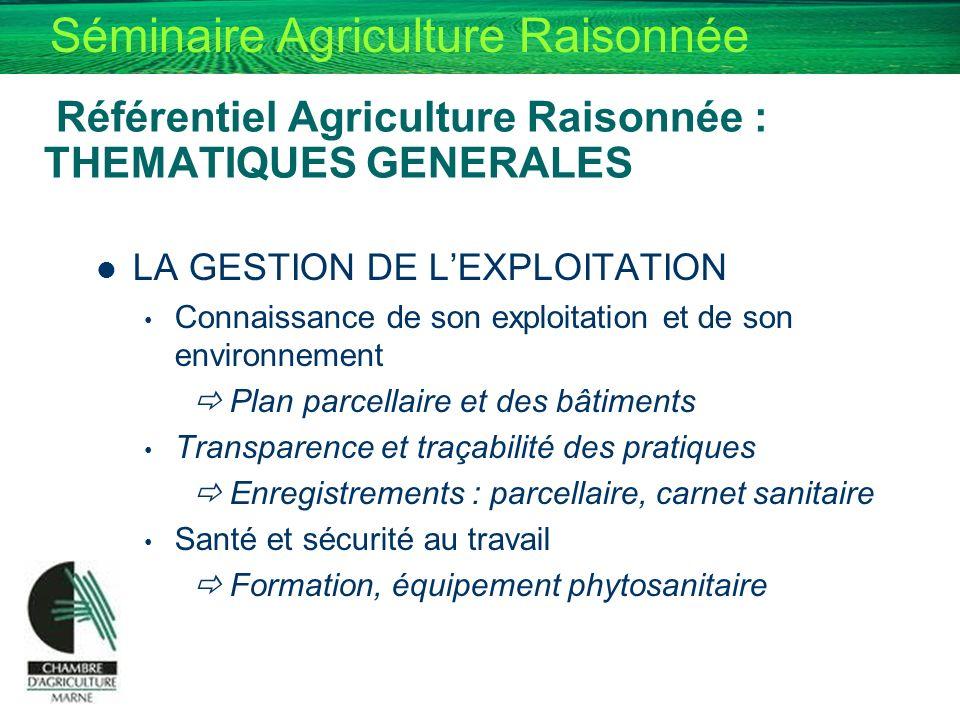 Séminaire Agriculture Raisonnée Référentiel Agriculture Raisonnée : THEMATIQUES GENERALES LA GESTION DE LEXPLOITATION Connaissance de son exploitation