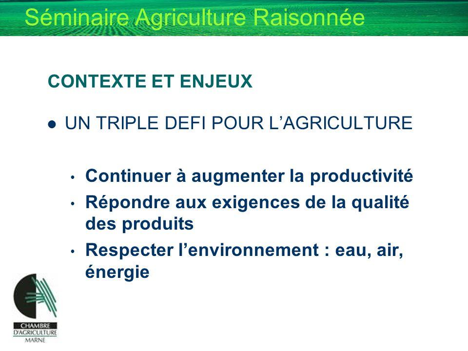 Séminaire Agriculture Raisonnée CONTEXTE ET ENJEUX UN TRIPLE DEFI POUR LAGRICULTURE Continuer à augmenter la productivité Répondre aux exigences de la