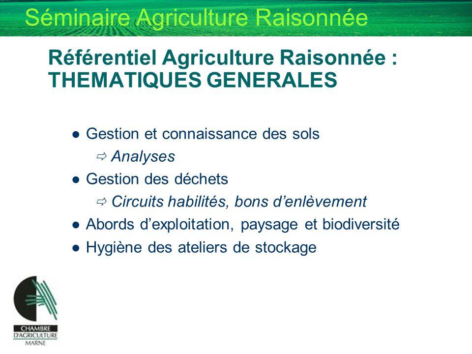 Séminaire Agriculture Raisonnée Référentiel Agriculture Raisonnée : THEMATIQUES GENERALES Gestion et connaissance des sols Analyses Gestion des déchet