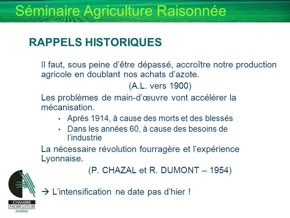 Séminaire Agriculture Raisonnée RAPPELS HISTORIQUES Il faut, sous peine dêtre dépassé, accroître notre production agricole en doublant nos achats dazo