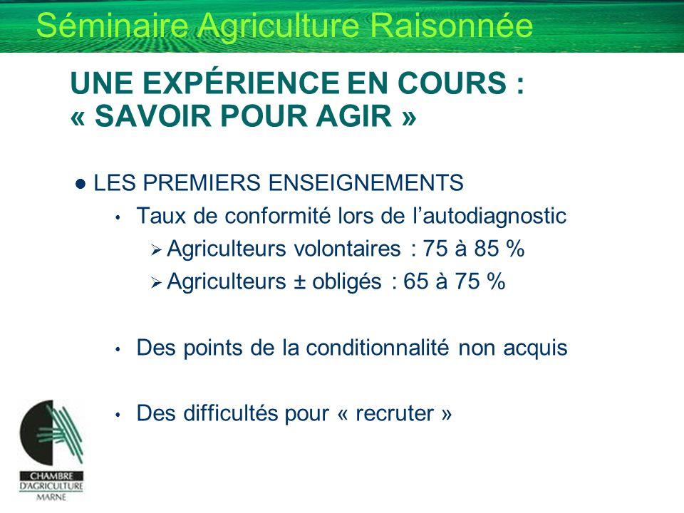 Séminaire Agriculture Raisonnée UNE EXPÉRIENCE EN COURS : « SAVOIR POUR AGIR » LES PREMIERS ENSEIGNEMENTS Taux de conformité lors de lautodiagnostic A