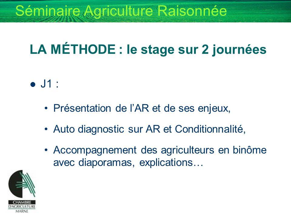 LA MÉTHODE : le stage sur 2 journées J1 : Présentation de lAR et de ses enjeux, Auto diagnostic sur AR et Conditionnalité, Accompagnement des agricult