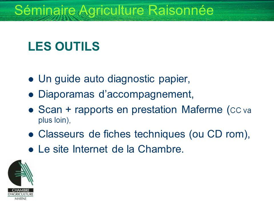 Séminaire Agriculture Raisonnée LES OUTILS Un guide auto diagnostic papier, Diaporamas daccompagnement, Scan + rapports en prestation Maferme ( CC va
