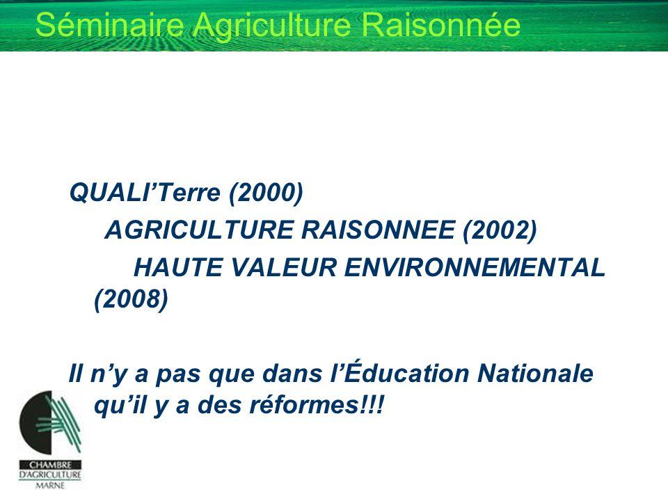 Séminaire Agriculture Raisonnée QUALITerre (2000) AGRICULTURE RAISONNEE (2002) HAUTE VALEUR ENVIRONNEMENTAL (2008) Il ny a pas que dans lÉducation Nat