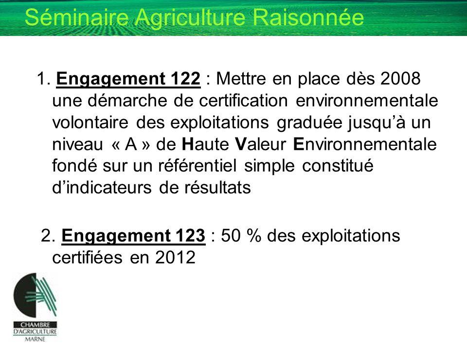 Séminaire Agriculture Raisonnée 1. Engagement 122 : Mettre en place dès 2008 une démarche de certification environnementale volontaire des exploitatio