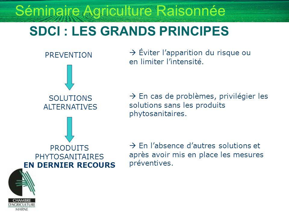 Séminaire Agriculture Raisonnée SDCI : LES GRANDS PRINCIPES PREVENTION Éviter lapparition du risque ou en limiter lintensité. SOLUTIONS ALTERNATIVES E