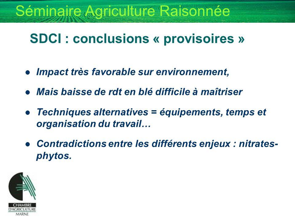 Séminaire Agriculture Raisonnée SDCI : conclusions « provisoires » Impact très favorable sur environnement, Mais baisse de rdt en blé difficile à maît