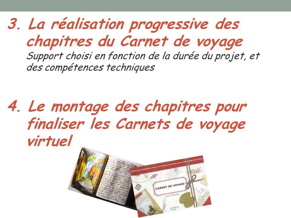 3. La réalisation progressive des chapitres du Carnet de voyage Support choisi en fonction de la durée du projet, et des compétences techniques 4. Le