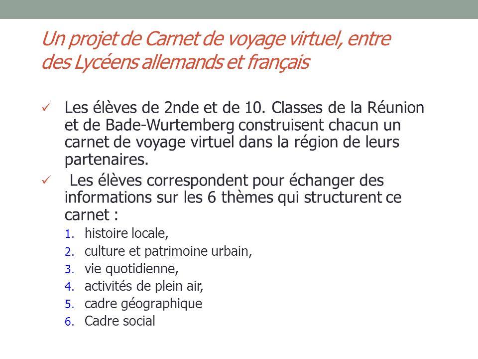 Un projet de Carnet de voyage virtuel, entre des Lycéens allemands et français Les élèves de 2nde et de 10. Classes de la Réunion et de Bade-Wurtember